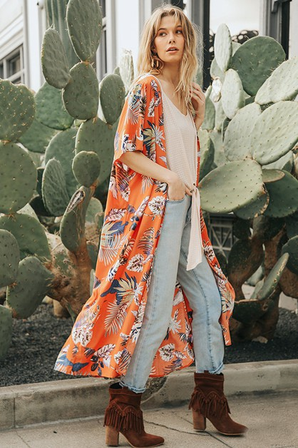 Tropical Print Long Kimono Cardigan - orangeshine.com