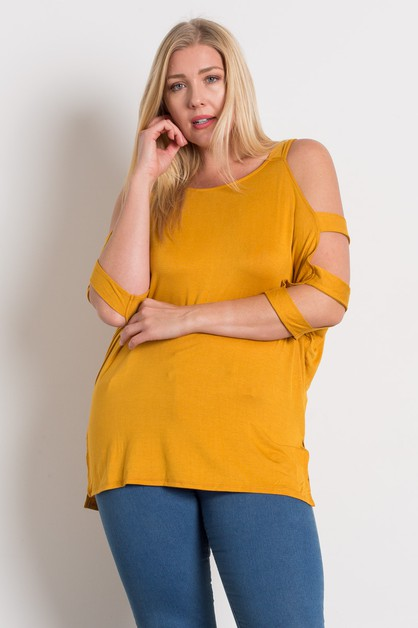 PLUS SIZE LADDER CUT OUT SLEEVE TOP - orangeshine.com