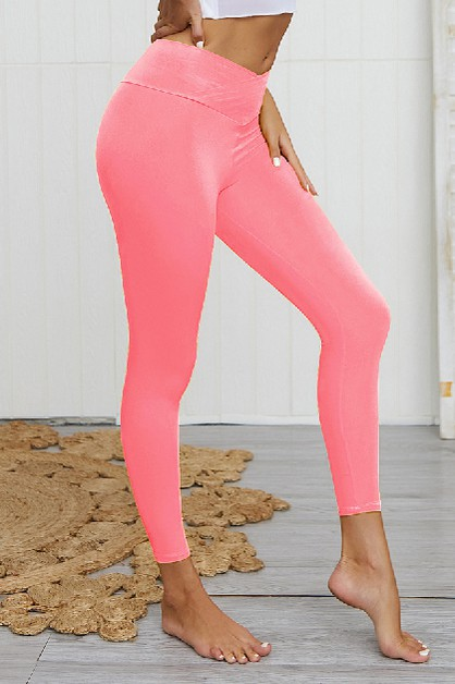 Solid Color High-waist Fitness Pants - orangeshine.com