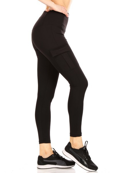 Black Sports Leggings Cargo Pockets - orangeshine.com