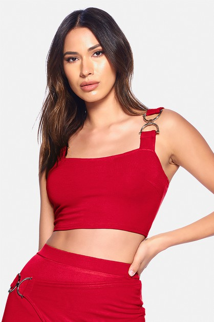 D BUCKLE POINT CROP TOP - orangeshine.com