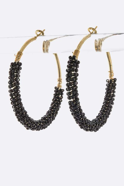 Seed Beads Iconic Fashion Hoop Earri - orangeshine.com