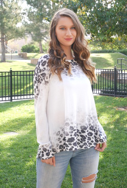 Leopard Print Long Sleeve Tunic Top - orangeshine.com
