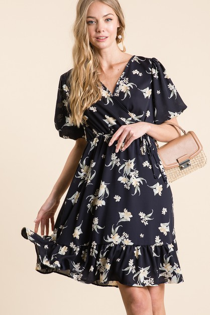 FLORAL V NECKLINE PUFF SLEEVE DRESS - orangeshine.com