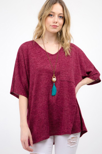 SOLID HACCI V-NECK LOOSE FIT TOP - orangeshine.com