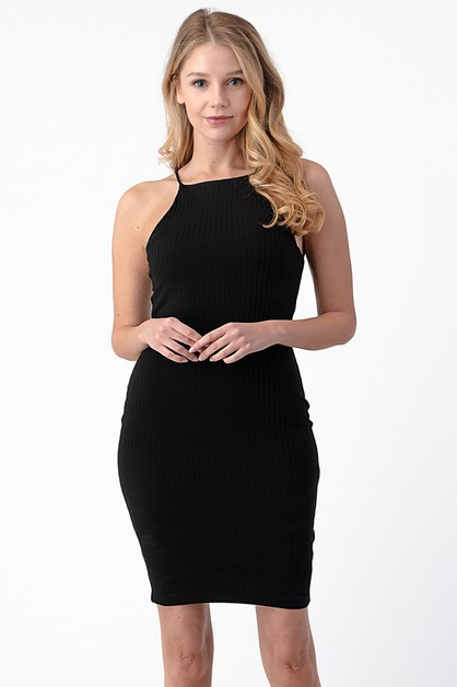 HIGH NECK RIB MINI DRESS - orangeshine.com