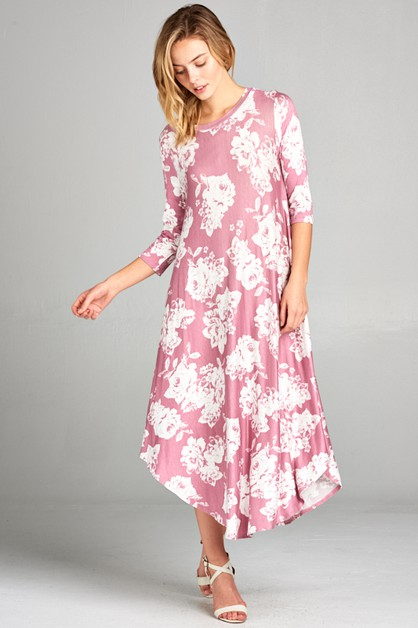 FLORAL 3/4 SLEEVE SWING DRESS - orangeshine.com