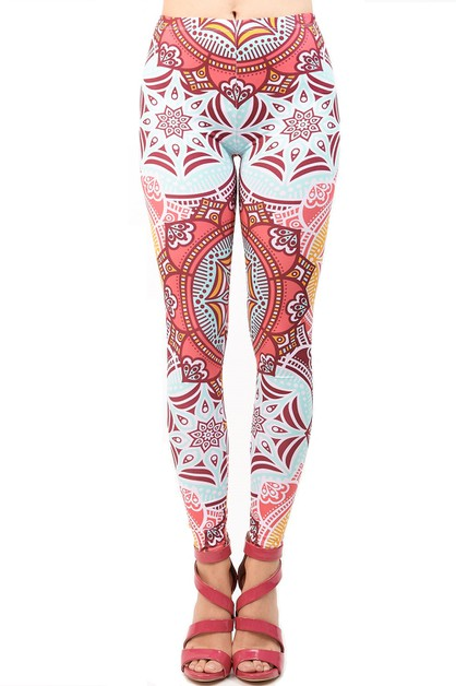MANDALA PINK YELLOW PRINTED Leggings - orangeshine.com