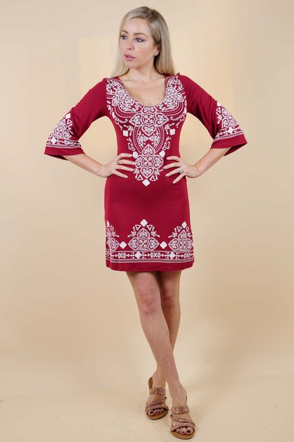 Red Detailed Dress - orangeshine.com