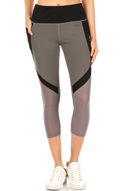 Color blocked yoga capri pants - orangeshine.com