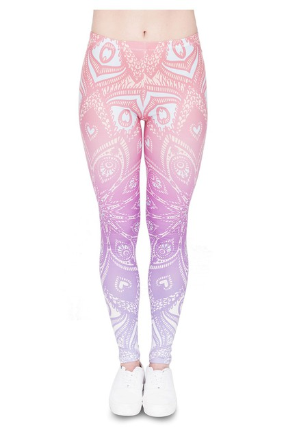 MANDALA PINK STAR Printed Leggings - orangeshine.com