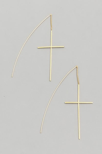 Threader Cross Earrings - orangeshine.com