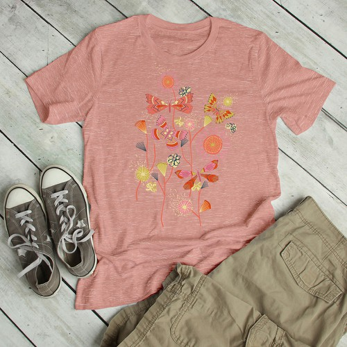 Boho Butterflies Junior Slub T-Shirt - orangeshine.com