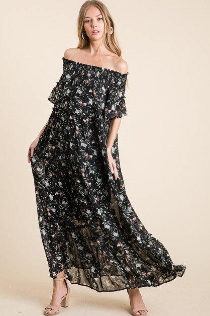 FLORAL WOVEN OPEN SHOULDER MAXI DRES - orangeshine.com