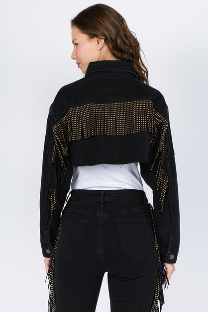 FRINGED BACK CROPPED DENIM JACKETS - orangeshine.com
