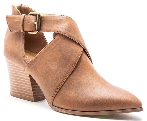 BUCKLED POINTY CUT OUT ANKLE BOOTIES - orangeshine.com