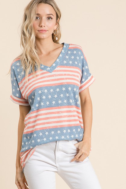FLAG PRINT THERMAL TUNIC  - orangeshine.com