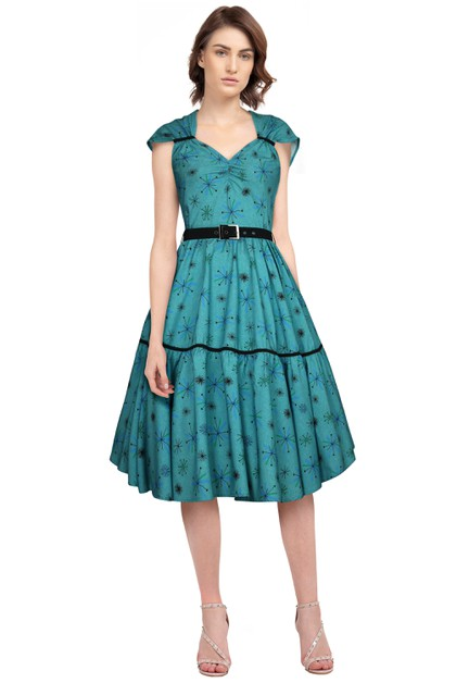 Plus Size Green/Snow Printed Retro Dress - orangeshine.com