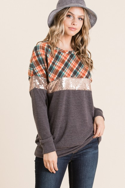 CHECKER PRINT SEQUENCE CONTRAST TOP - orangeshine.com