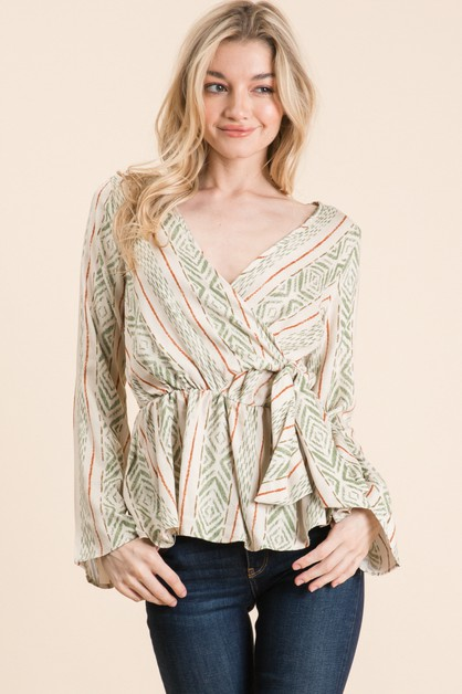 LONG SLEEVE PRINTED WRAP TOP - orangeshine.com