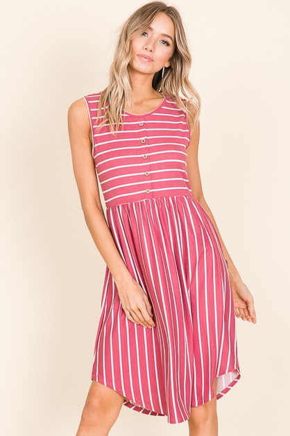 STRIPE BUTTON DETAIL MIDI DRESS - orangeshine.com