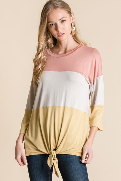 COLOR BLOCK FRONT TIE TOP - orangeshine.com