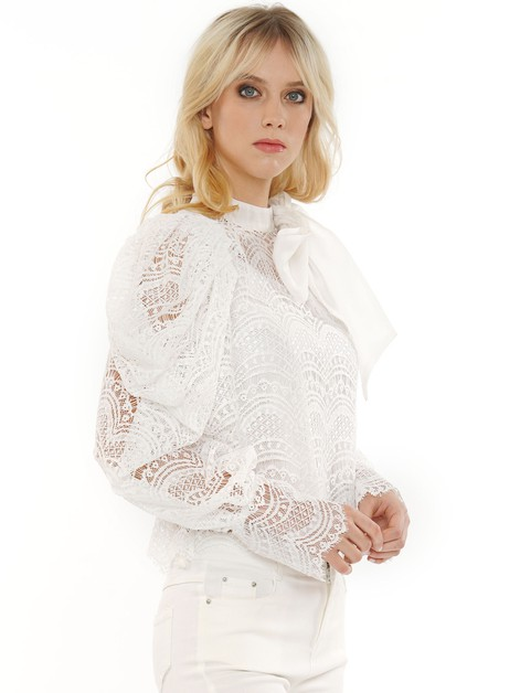 LACE PUFF SLEEVE BLOUSE - orangeshine.com