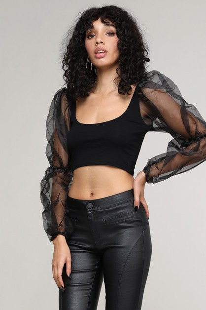 Net Yarn Bubble Sleeve Crop Top - orangeshine.com