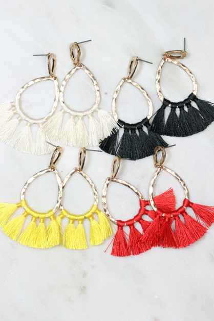 5 Tassels tear drop metal earrings - orangeshine.com