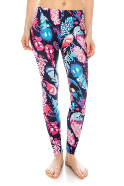 Feathers Color Printed Leggings - orangeshine.com