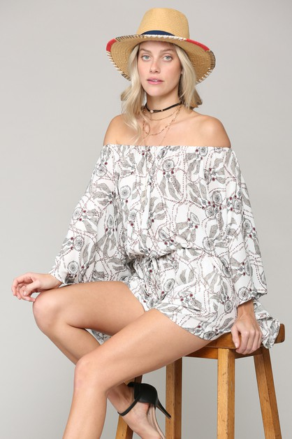 BOHO FEATHER PRINTED ROMPER - orangeshine.com