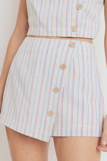 Striped Buttoned Skirt - orangeshine.com