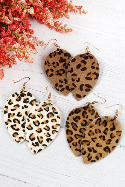 LEOPARD LEATHER DROP EARRINGS - orangeshine.com