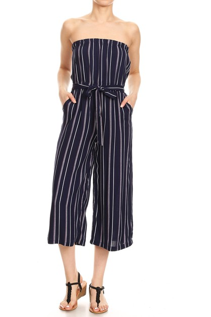 Navy Stripes Jumpsuits Wide Leg - orangeshine.com
