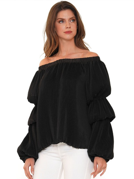 OFF THE SHOULDER PLEATED TOP - orangeshine.com