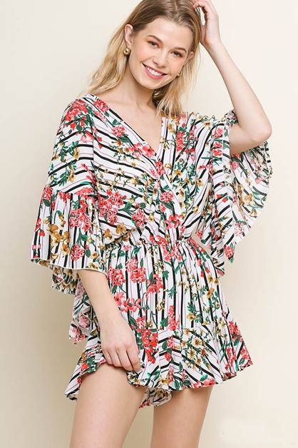Striped Floral Angel Ruffle Romper  - orangeshine.com