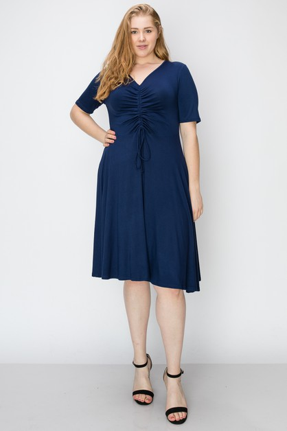 PLUS SIZE Knit Ruched Midi Dress  - orangeshine.com