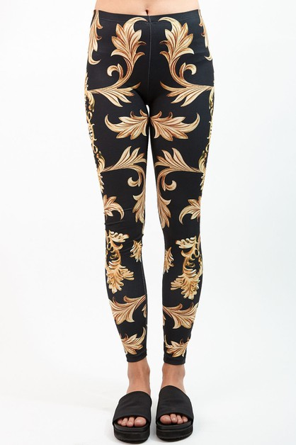 GOLD ORNAMENT Digital Print Leggings - orangeshine.com