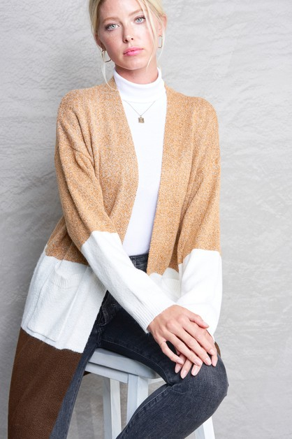 COLOR BLOCK CARDIGAN - orangeshine.com