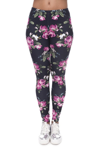 RETRO ROSES BLACK Printed Leggings - orangeshine.com