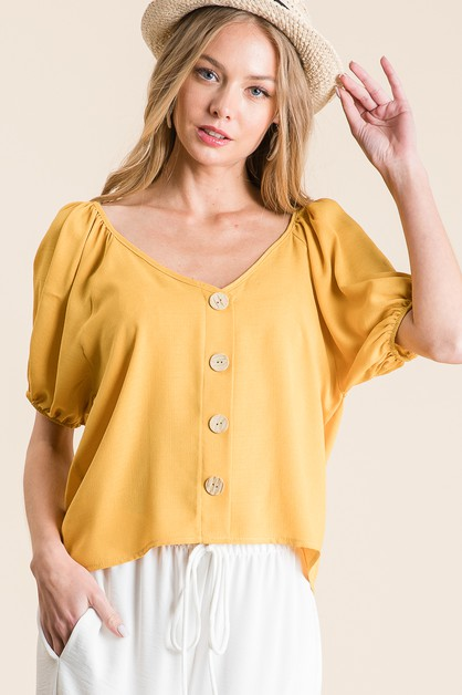 WOVEN SOLID FRONT BUTTON TOP - orangeshine.com