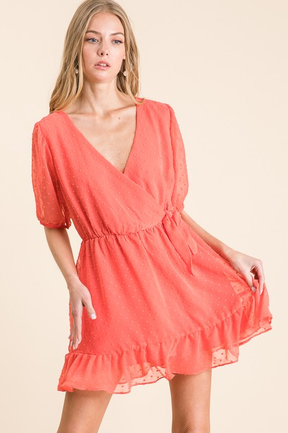 SOLID SWISS DOT WOVEN ROMPER  - orangeshine.com