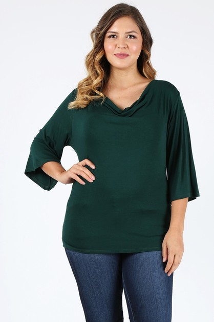Plus size cowl neck basic top - orangeshine.com