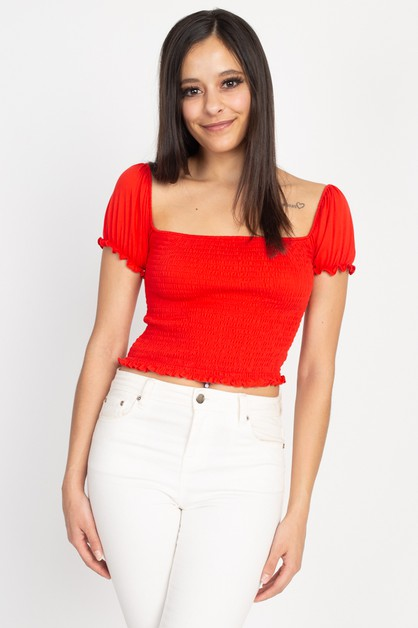 Smocking Cap Sleeve Cropped Top - orangeshine.com
