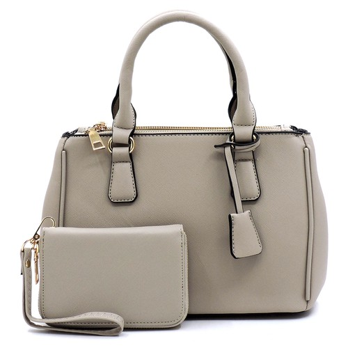 Saffiano Textured 2-in-1 Satchel - orangeshine.com