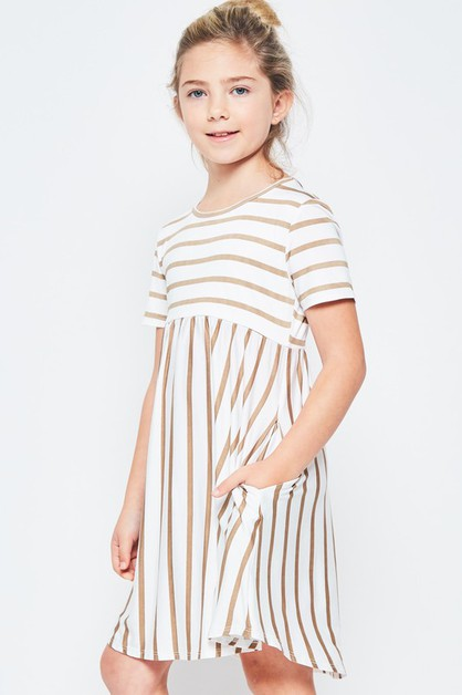 KIDS SIZE STRIPE MIDI DRESS - orangeshine.com