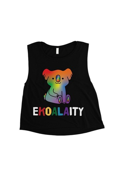 Ekoalaity Koala Rainbow Crop Top - orangeshine.com