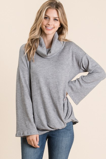 TURTLE NECK FRONT TWIST TOP - orangeshine.com