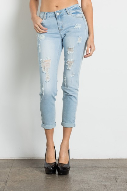 Mid Rise Ripped Light Blue Jeans - orangeshine.com