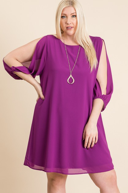 WOVEN SOLID SLIT SLEEVE DRESS - orangeshine.com